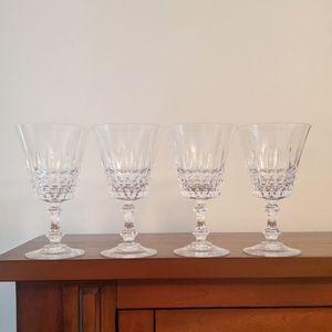 Vintage set of 4 craystal steamed glasses